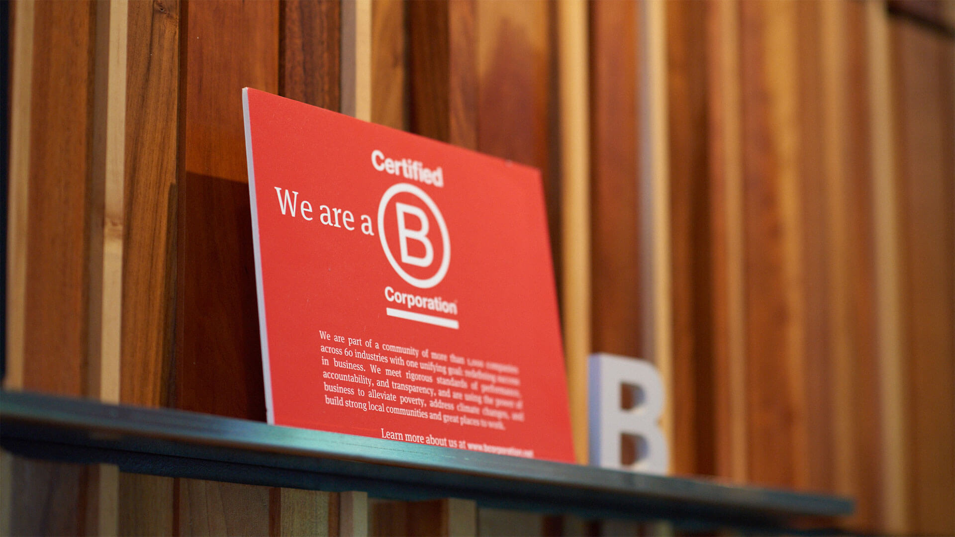 B Corp Sign in Office